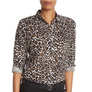 J.CREW Leopard The Perfect Shirt Slim Button Down